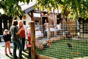 Ein Plausch vor dem Flammkuchen-»Backhaus«. Die Kin-der erfreuen sich an den Hühnern mit ihrem Hahn.